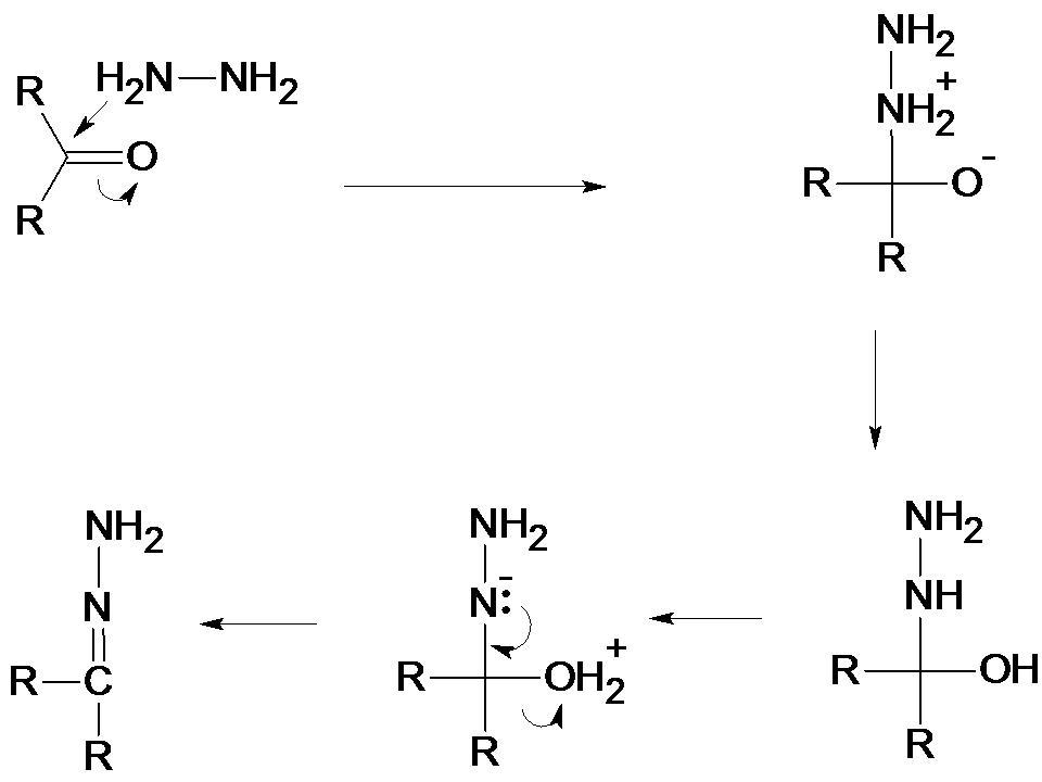 ヒドラジンと酸素の反応の反応機...